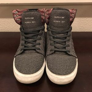 Supra Grey Hi Top Shoes Men Size 9.